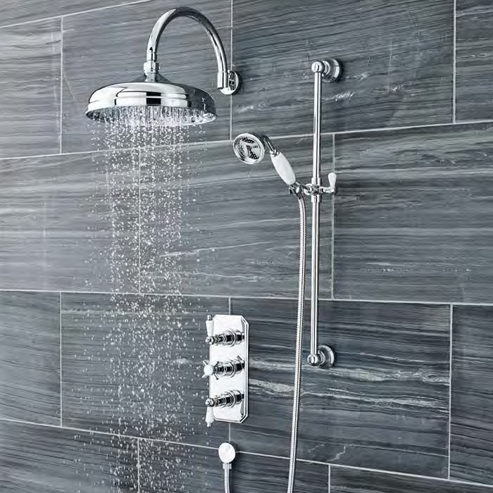 Ultra Traditional Triple Concealed Shower with Slide Rail Kit & Fixed Head Large Image