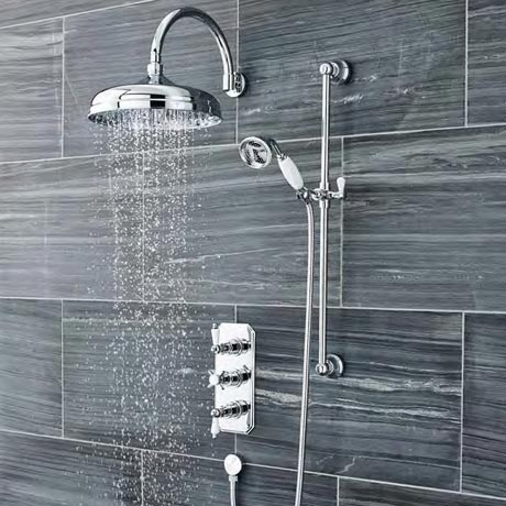Ultra Traditional Triple Concealed Shower with Slide Rail Kit & Fixed Head