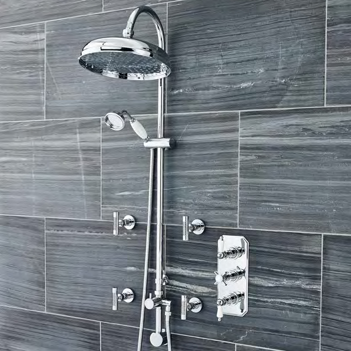 Ultra Traditional Triple Concealed Shower with Luxury Shower Kit & 4 Body Jets Large Image