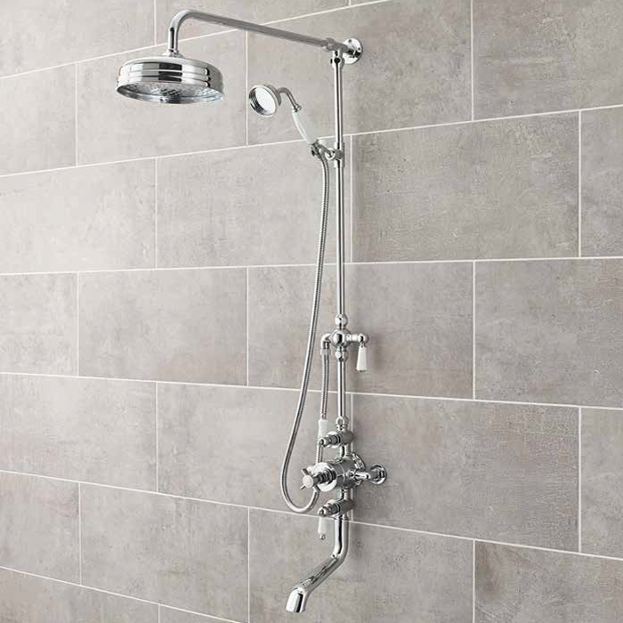 Ultra Traditional Triple Exposed Valve With Spout - Chrome - A3068 Large Image