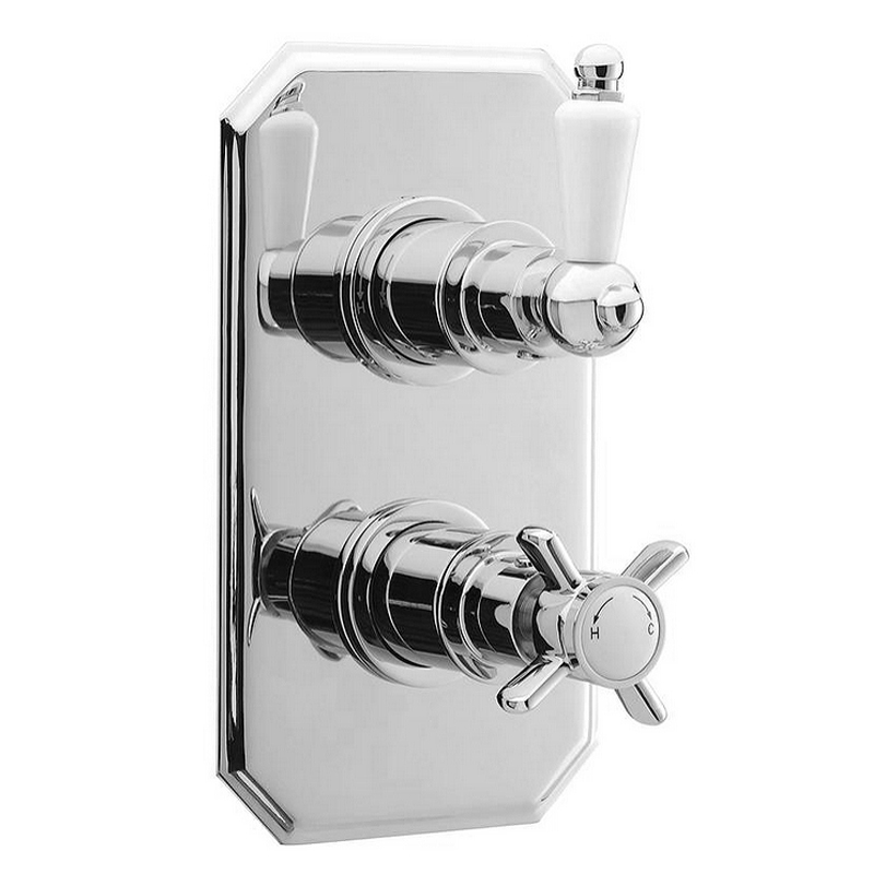 Ultra Pioneer Traditional Twin Concealed Thermostatic Shower Valve - Chrome - A3032 Large Image