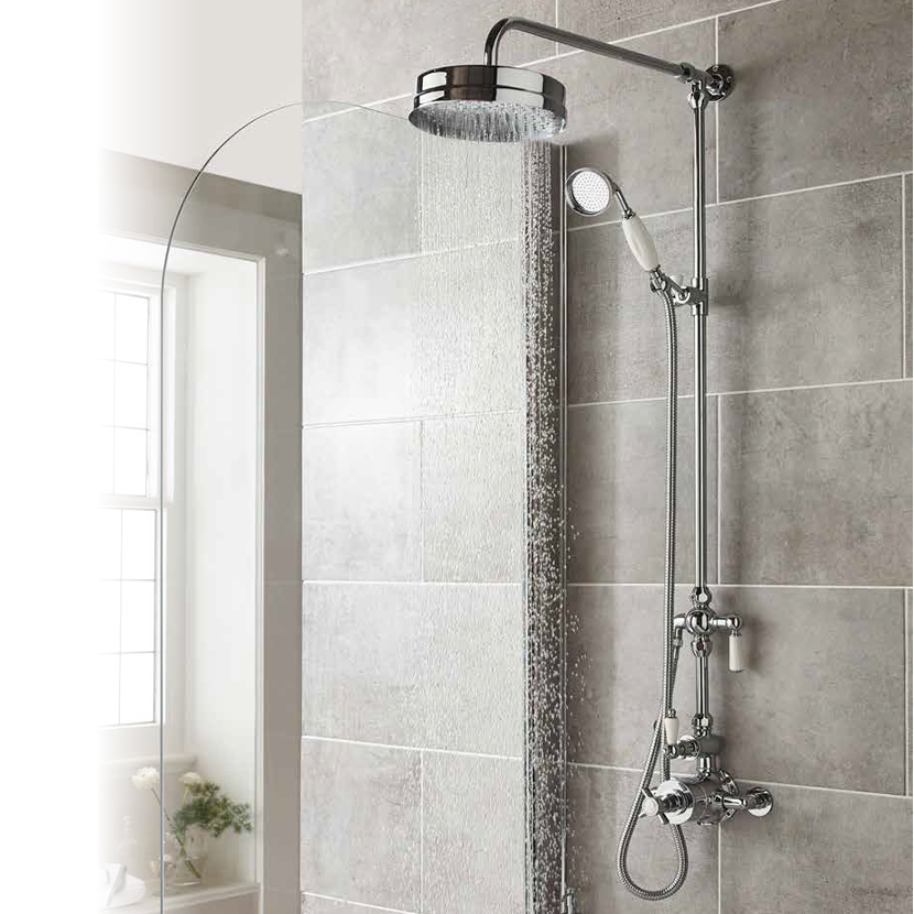 Ultra Traditional Twin Exposed Thermostatic Shower Valve - A3056 profile large image view 2
