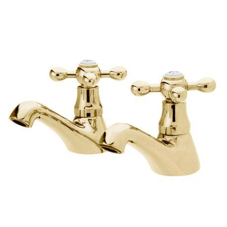 Ultra Traditional Viscount Range Basin Taps - Antique Gold