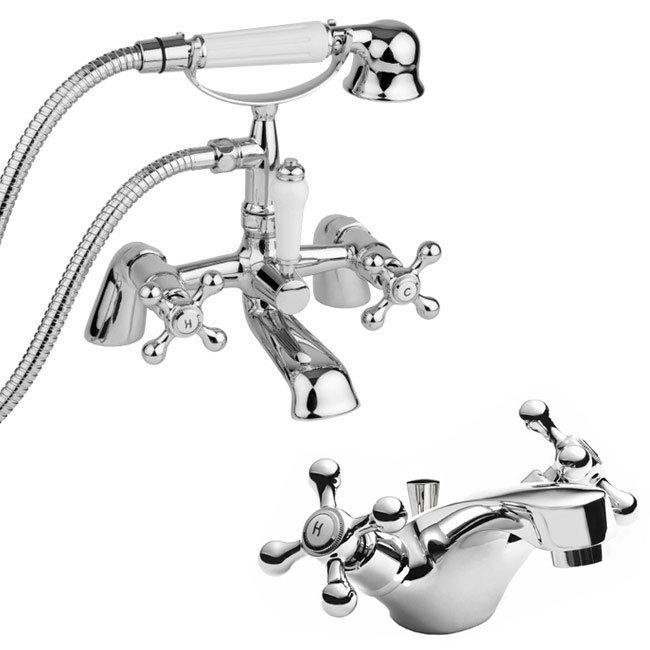 Ultra Viscount Range Mono Basin & Bath Shower Mixer - Chrome profile large image view 1