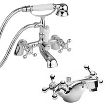 Ultra Viscount Range Mono Basin & Bath Shower Mixer - Chrome Medium Image