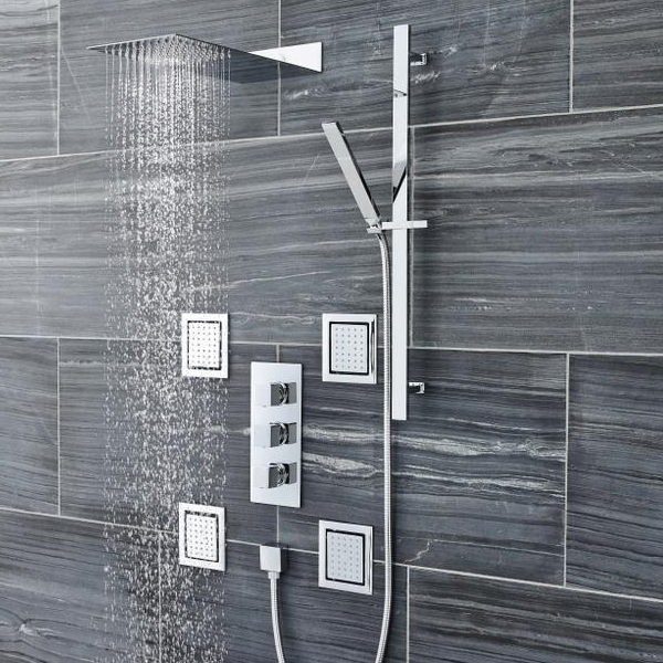 Ultra Volt Concealed Thermostatic Triple Shower Valve with Built-in Diverter profile large image view 2