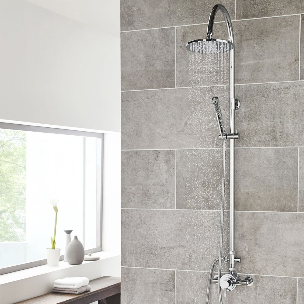 Ultra Zephyr Shower Kit with Round Head and Minimalist Handset - Chrome - A366 profile large image view 2