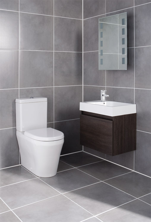 Ultra - Zone Oak Finish Cabinet & Basin with BTW Close Coupled Toilet profile large image view 1