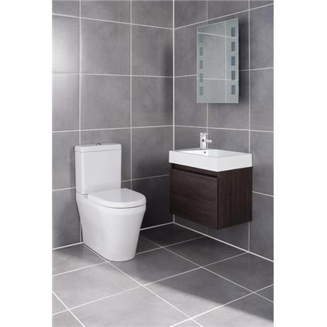 Ultra - Zone Oak Finish Cabinet & Basin with BTW Close Coupled Toilet