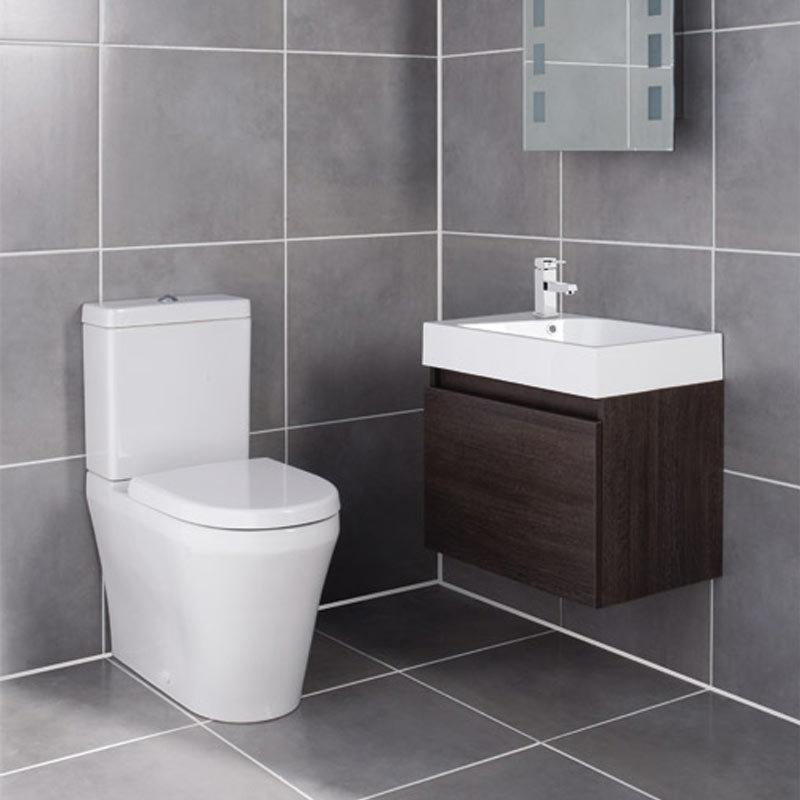 Ultra - Zone Oak Finish Cabinet & Basin with BTW Close Coupled Toilet Large Image