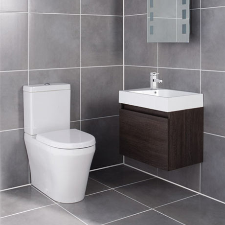 Ultra - Zone Oak Finish Cabinet & Basin with BTW Close Coupled Toilet