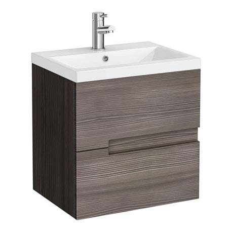 Urban Compact 500mm Wall Hung Vanity Unit - Grey Avola