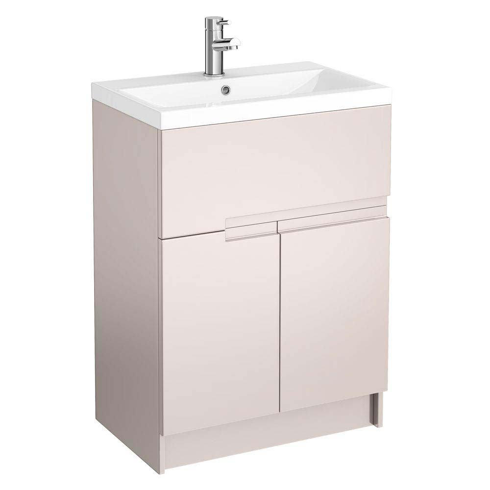 Urban Compact 600mm Floorstanding Vanity Unit - Cashmere Large Image