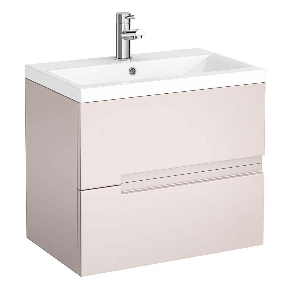 Urban Compact 600mm Wall Hung 2 Drawer Vanity Unit - Cashmere Large Image