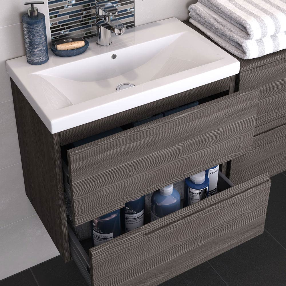 Urban Compact 600mm Wall Hung 2 Drawer Vanity Unit - Grey Avola  Profile Large Image