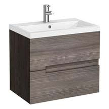 Urban Compact 600mm Wall Hung 2 Drawer Vanity Unit - Grey Avola Medium Image