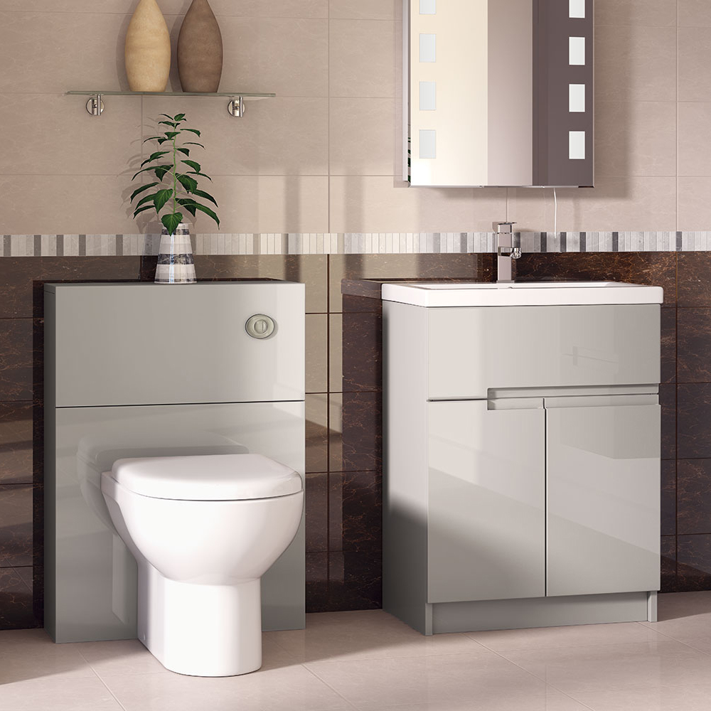 Urban Compact 800mm Floorstanding Vanity Unit - Cashmere profile large image view 2