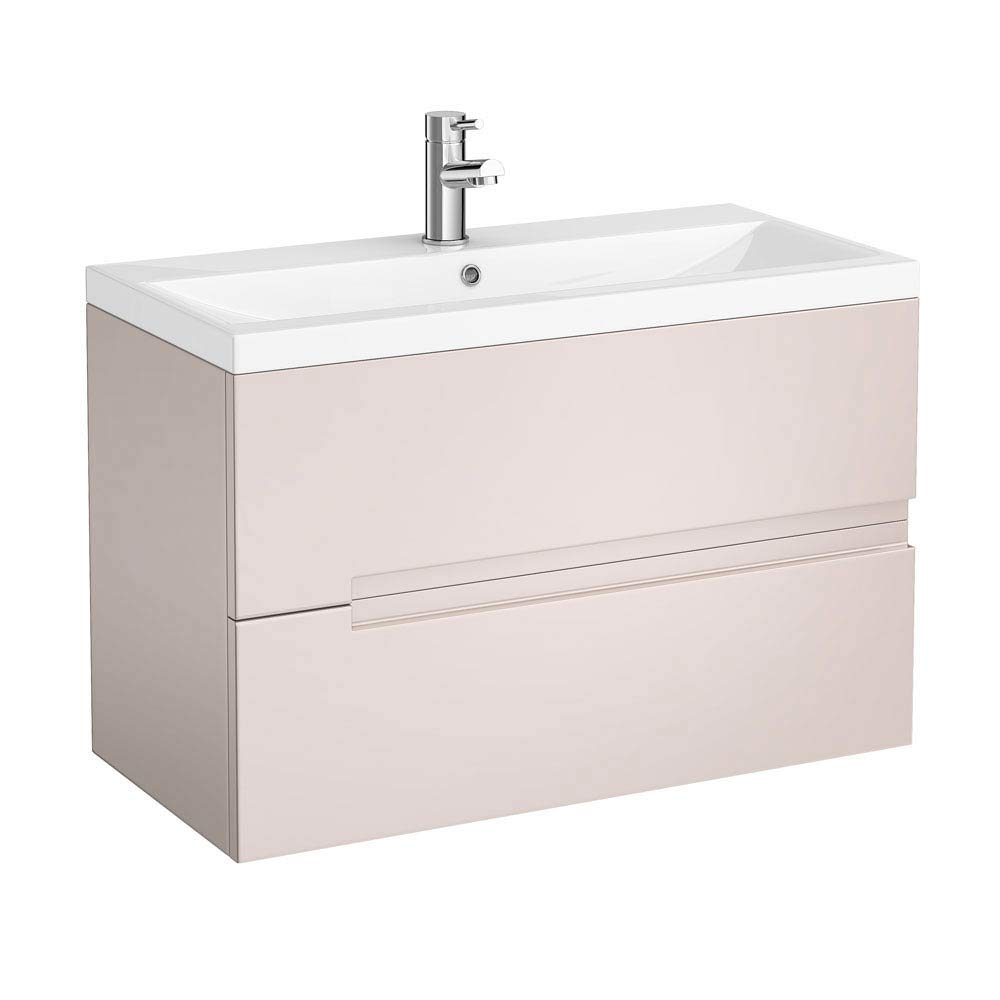 Urban Compact 800mm Wall Hung 2 Drawer Vanity Unit - Cashmere Large Image