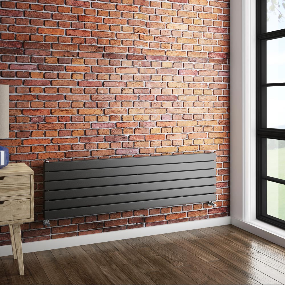 Urban Horizontal Radiator - Anthracite - Double Panel (1600mm Wide) profile large image view 3