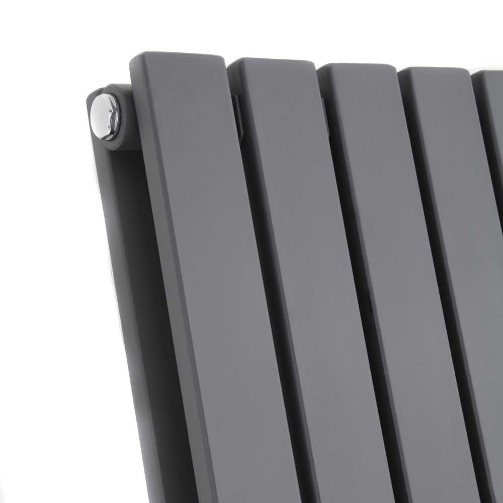 Urban Horizontal Radiator - Anthracite - Double Panel (600mm High) profile large image view 2