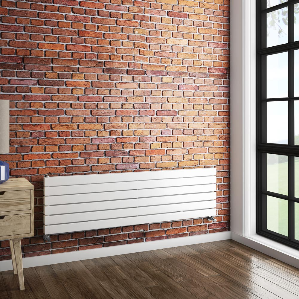 Urban Horizontal Radiator - White - Double Panel (1600mm Wide) profile large image view 3