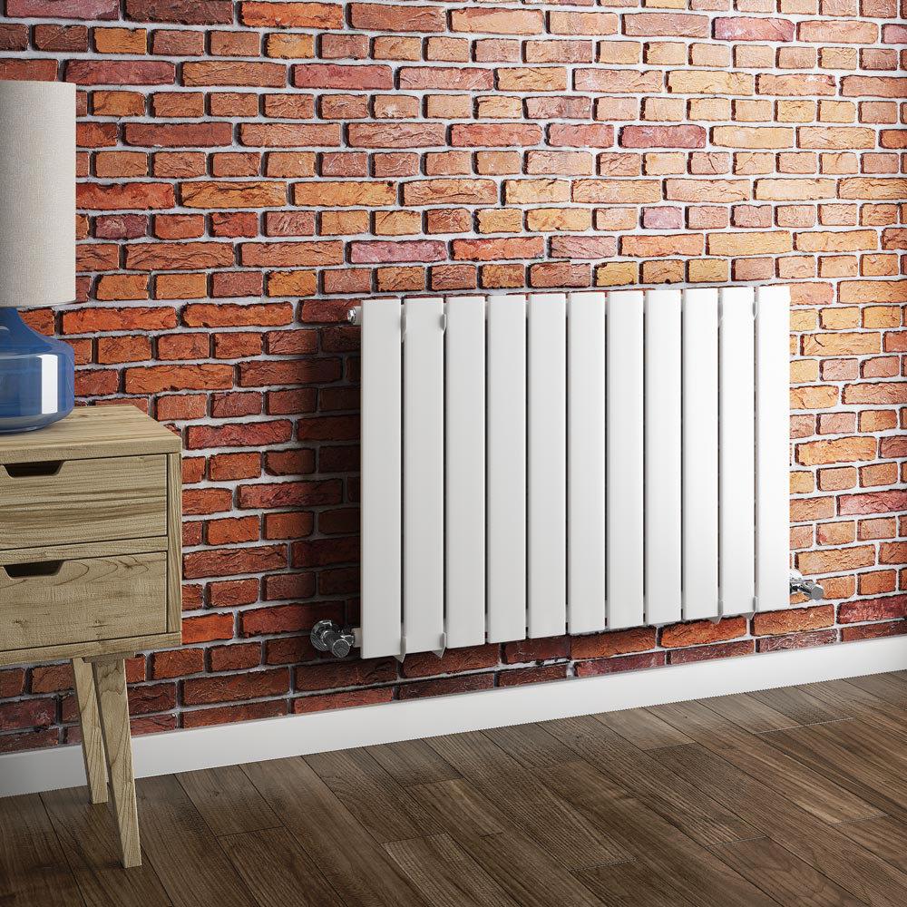 Urban Horizontal Radiator - White - Single Panel (600mm High) profile large image view 3