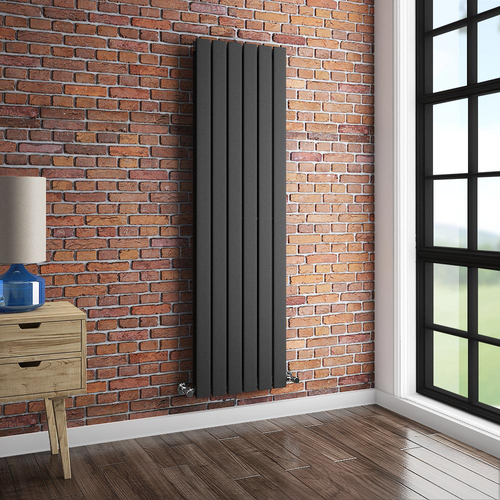 Urban Vertical Radiator - Anthracite - Double Panel (1600mm High) profile large image view 3