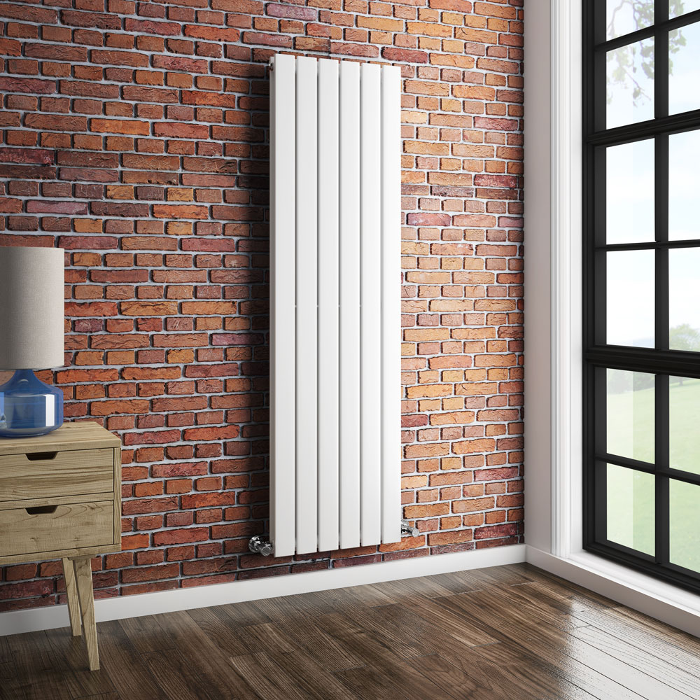 Urban Vertical Radiator - White - Double Panel (1600mm High) profile large image view 3