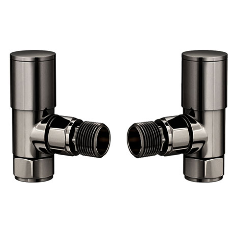 Modern Black Nickel Angled Radiator Valves