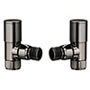 Modern Black Nickel Angled Radiator Valves profile small image view 1