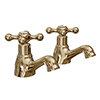Victoria Gold Traditional Basin Taps profile small image view 1