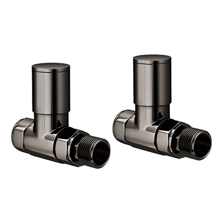 Modern Black Nickel Straight Radiator Valves