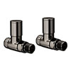 Modern Black Nickel Straight Radiator Valves profile small image view 1