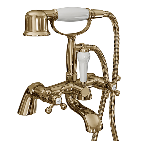 Victoria Gold Traditional Bath Shower Mixer with Handset