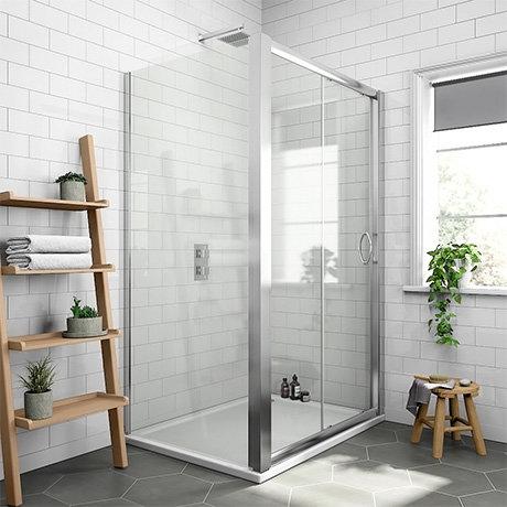 Newark 1200 x 760mm Sliding Door Shower Enclosure + Pearlstone Tray
