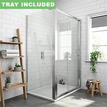 Newark 1200 x 700mm Sliding Door Shower Enclosure + Pearlstone Tray Medium Image