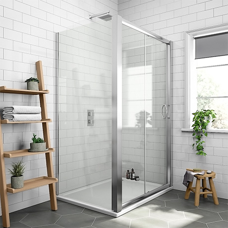 Newark 1200 x 700mm Sliding Door Shower Enclosure + Pearlstone Tray