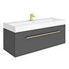 Valencia 1200 Gloss Grey Minimalist Wall Hung Vanity Unit with Brass Handle profile small image view 1