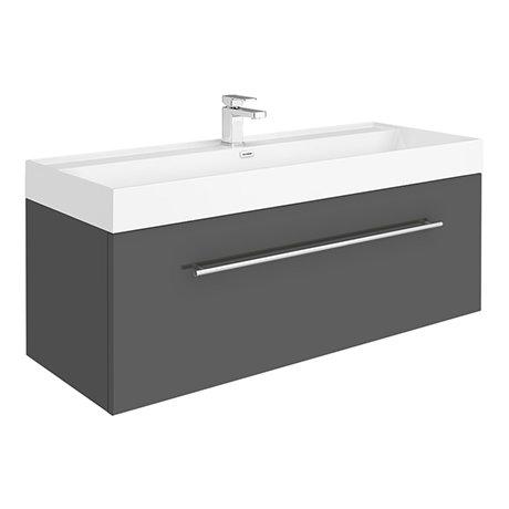 Valencia 1200 Gloss Grey Minimalist Wall Hung Vanity Unit with Chrome Handle