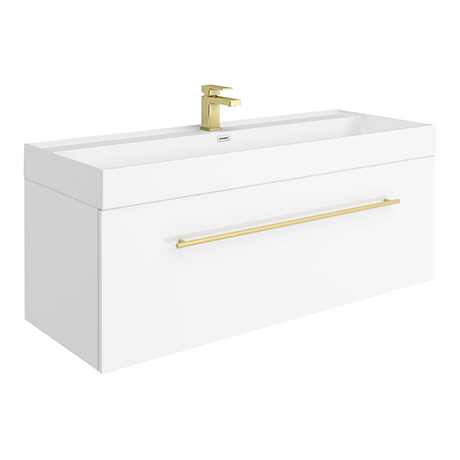 Valencia 1200 Gloss White Minimalist Wall Hung Vanity Unit with Brass Handle