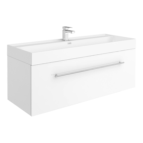 Valencia 1200 Gloss White Minimalist Wall Hung Vanity Unit with Chrome Handle
