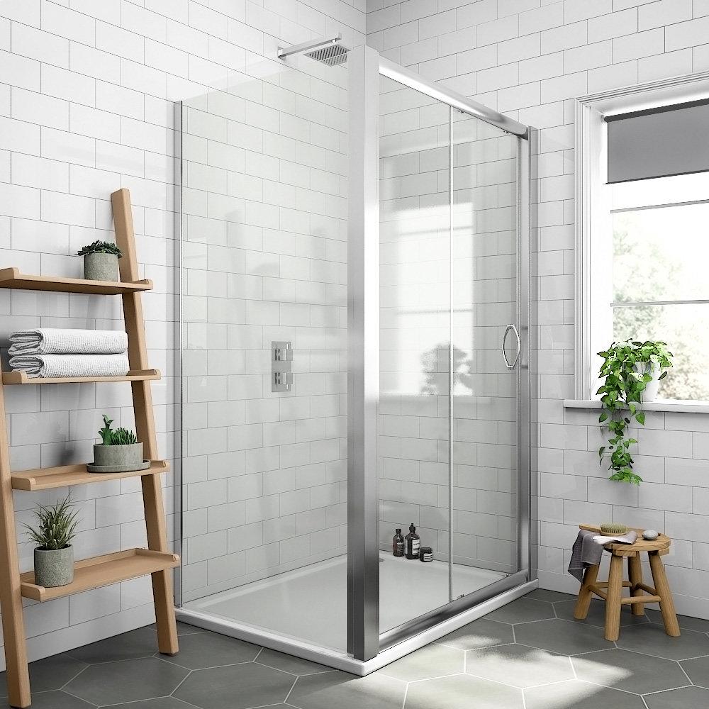 Newark 1000 x 900mm Sliding Door Shower Enclosure + Pearlstone Tray