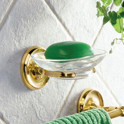 Smedbo Villa Glass Soap Dish & Holder - Polished Brass - V242 profile large image view 2