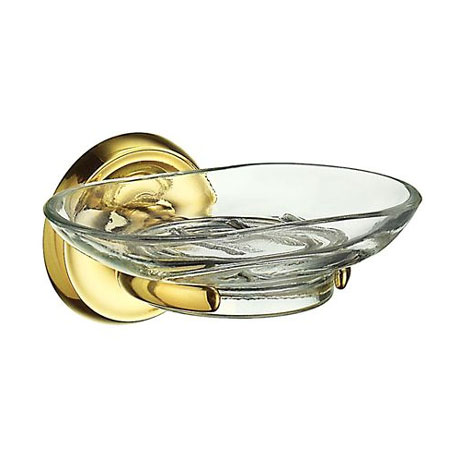 Smedbo Villa Glass Soap Dish & Holder - Polished Brass - V242