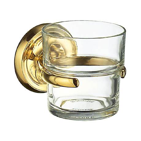 Smedbo Villa Glass Tumbler & Holder - Polished Brass - V243