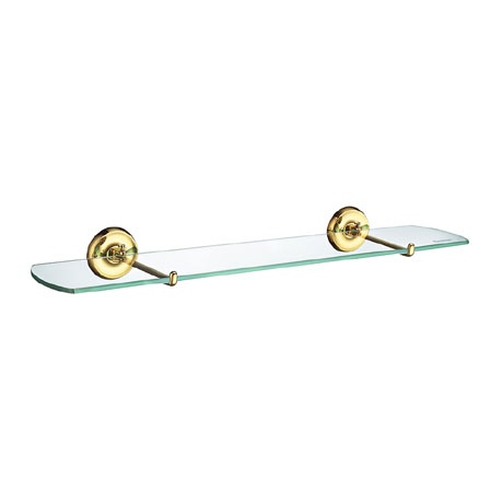Smedbo Villa Bathroom Glass Shelf - Polished Brass - V247