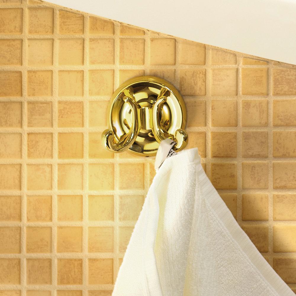 Smedbo Villa Double Towel Hook - Polished Brass - V256 profile large image view 2
