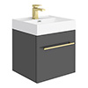Valencia 450 Gloss Grey Minimalist Wall Hung Vanity Unit with Brass Handle profile small image view 1