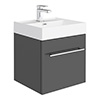 Valencia 450 Gloss Grey Minimalist Wall Hung Vanity Unit with Chrome Handle profile small image view 1