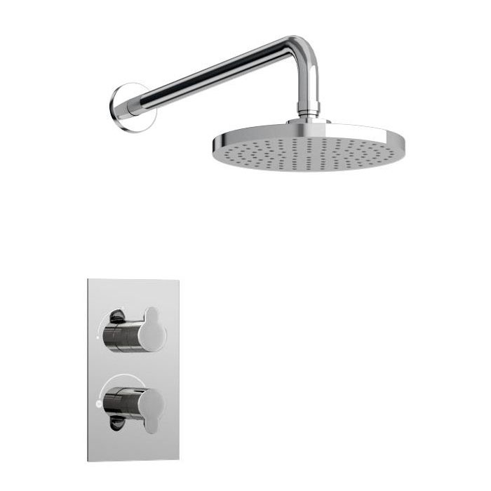 Britton Bathrooms - Concealed Thermostatic Valve with Round Fixed Head & Arm Large Image